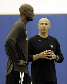 Kevin Garnett says the Nets are progressing in practice, but the results haven't been there for coach Jason Kidd (right).